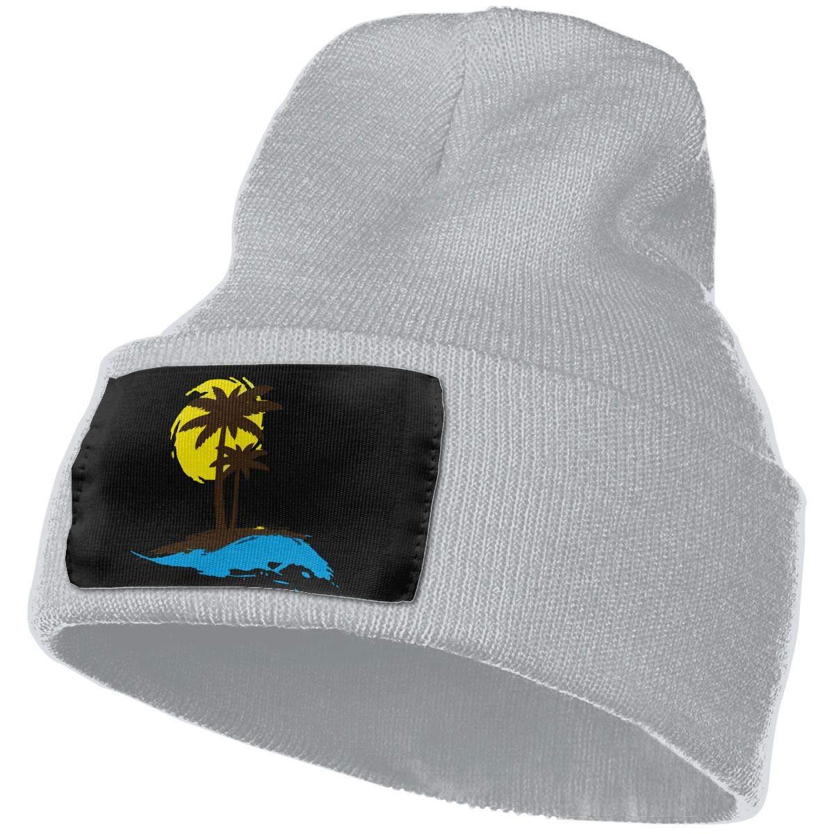 Sunset and Palm Trees Men /& Women Knitting Hats Stretchy /& Soft Ski Cap Beanie
