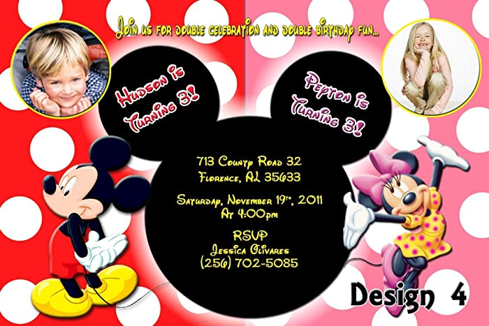 amazon com mickey minnie mouse personalized birthday invitations