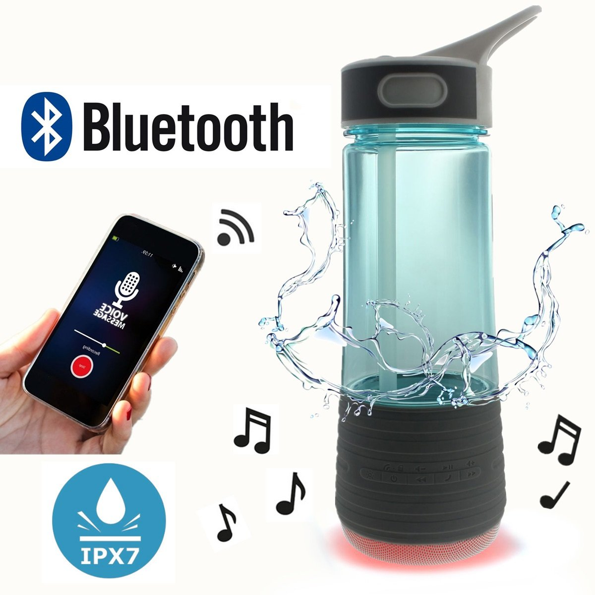 Travel Water Bottle with Speakers Bluetooth & Straw Outdoor & Safety Light for Hiking | BPA Free Water Bottle Wireless IPX7 Waterproof Rechargeable Stereo Mini Speaker By cAoku