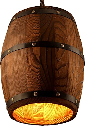 Wood Wooden Wine Barrel Shade Ceiling Light Fixture Pendant Retro Industrial French Country Vintage Antique Chandelier Restaurant Bar Pendant Lamp Nostalgic Cafe 9.45″ Width X 13″ Height