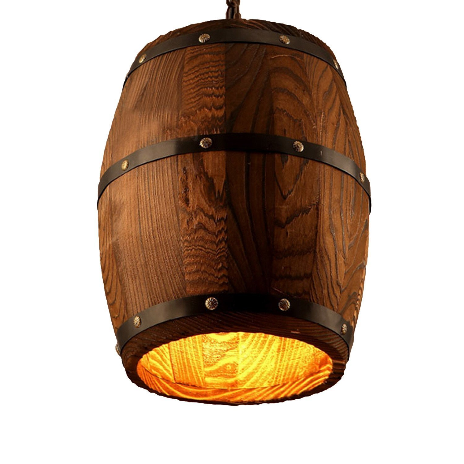 Wood Wooden Wine Barrel Shade Ceiling Light Fixture Pendant Retro Industrial French Country Vintage Antique Chandelier Restaurant Bar Pendant Lamp Nostalgic Cafe (9.45'' Width X 13'' Height)