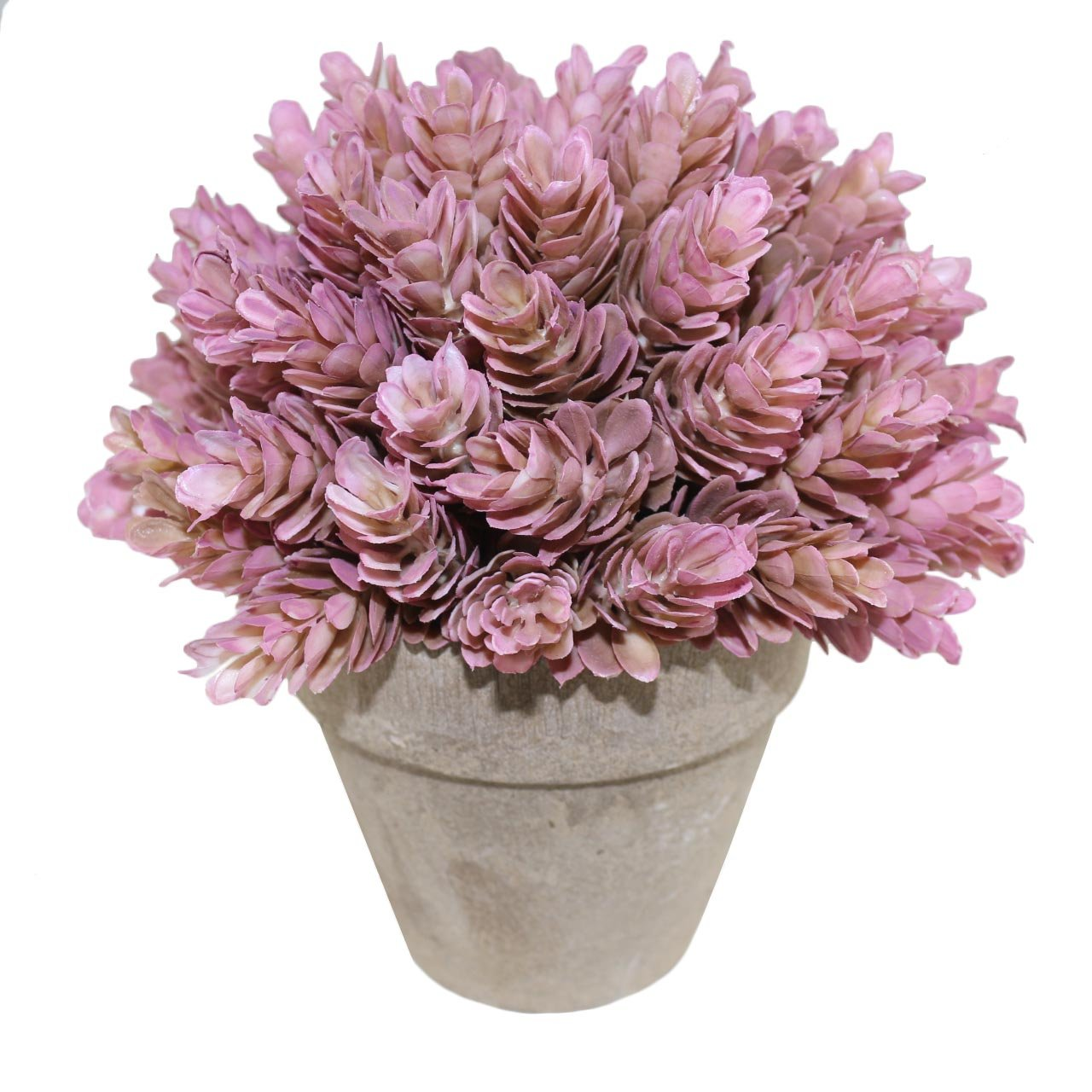 Kumii Small Artificial Topiary Plastic Plant in Pot, 7 inch Desk Bedroom Decoration, Fake Flower, (Pink Pineapple Grass)