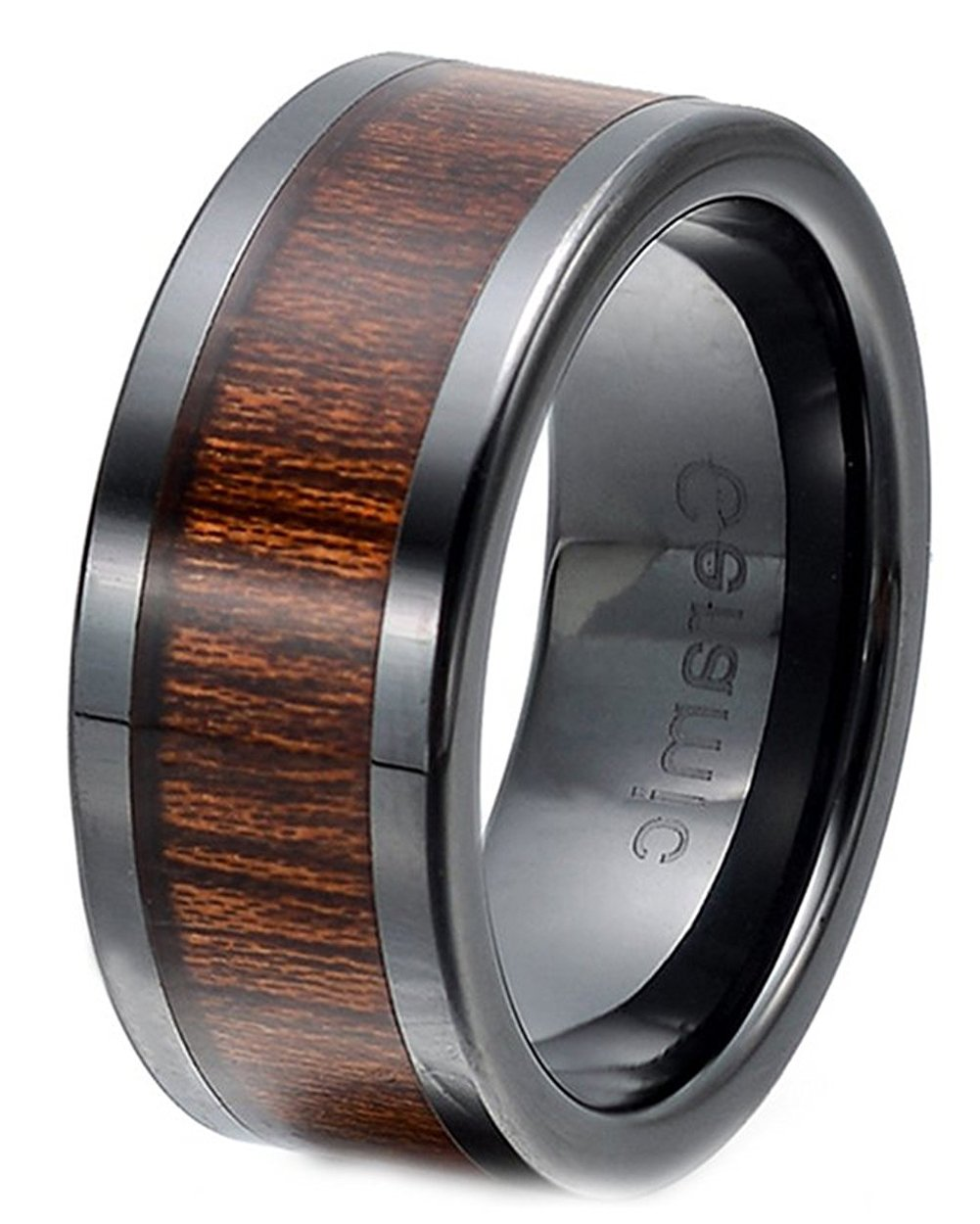LILILEO Jewelry 8mm Domed Wood Grain Inlay Tungsten Ring Wooden Wedding Anniversary For Unisex Rings(Have Half Code)