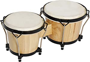 """ZENY 6"""" and 7"""" Bongo Drum Set, Percussion Instrument, Wood and Metal Drum for Kids Adults Beginners Professionals with Tuning Wrench"""
