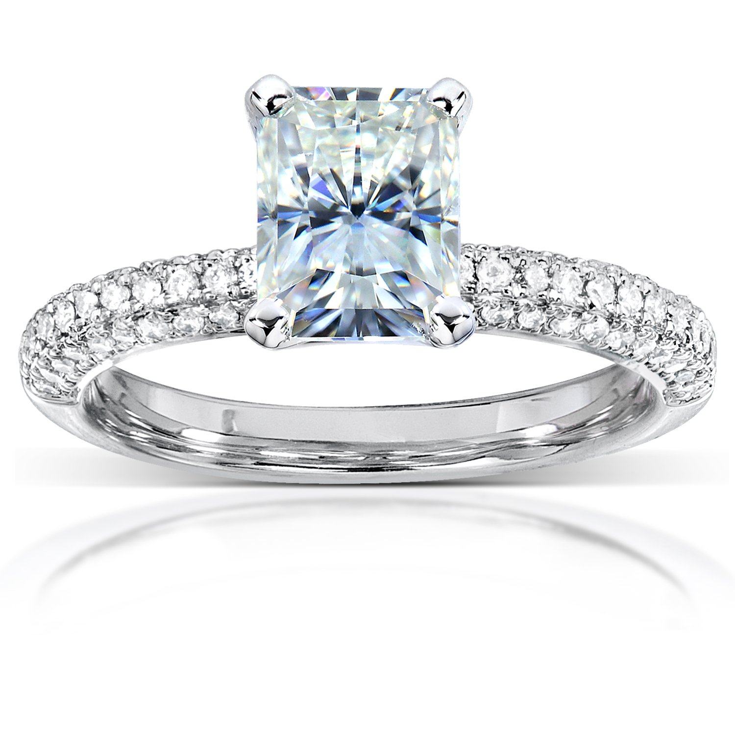 Radiant-cut Moissanite Engagement Ring with Micro-Pave Diamond 2 CTW 14k White Gold, Size 6