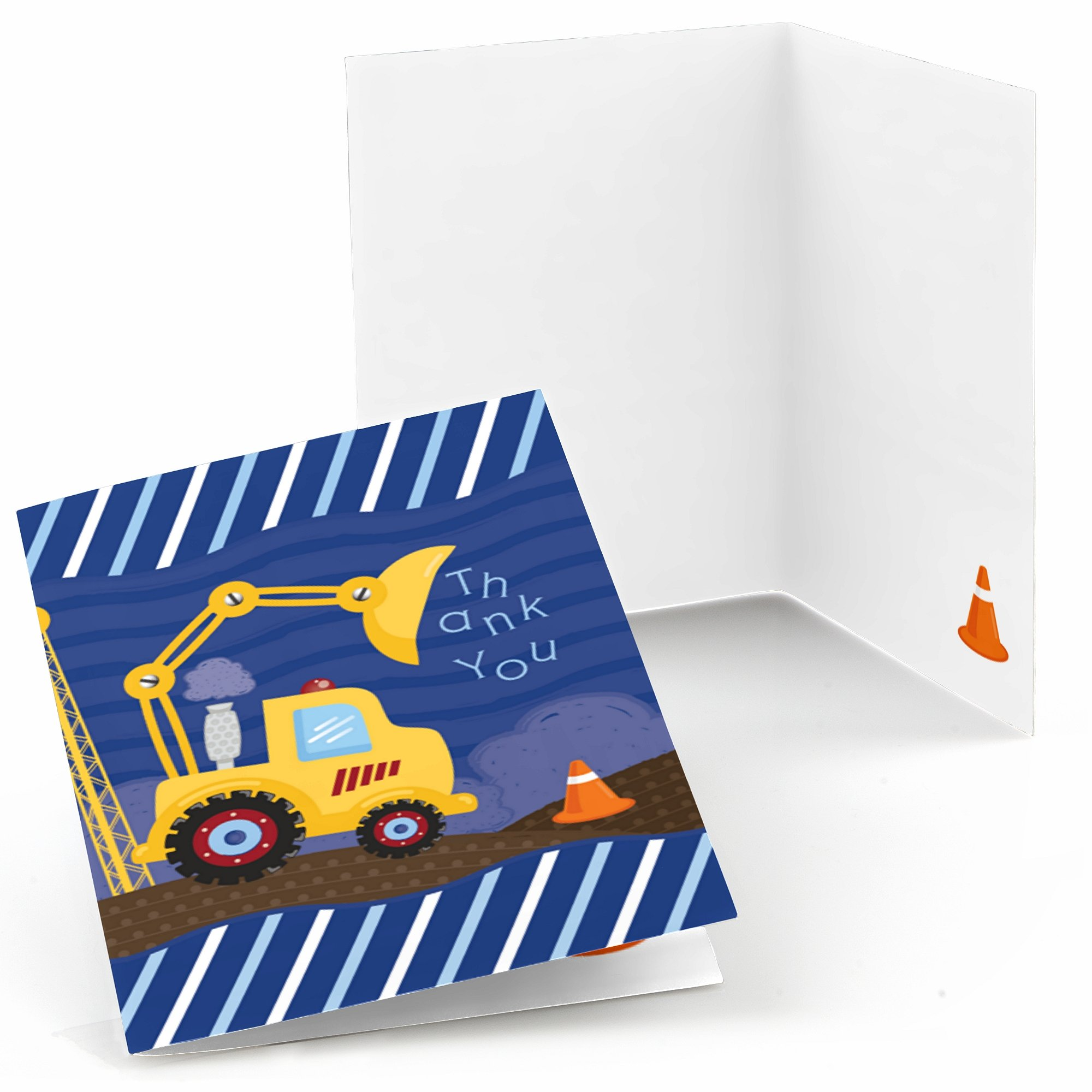 Big Dot of Happiness Construction Truck - Baby Shower or Birthday Party Thank You Cards - Set of 24