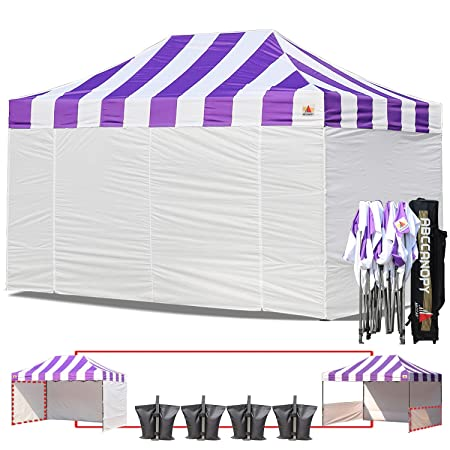 ABCCANOPY Big Sale Carnival Purple 10 X 15 Ez Pop up Canopy Tent Commercial Instant Gazebos with 6 Removable White Sidewalls and Roller Bag and 4X Weight Bag