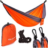 Soufull Outdoor Travel Lightweight Portable Nylon Parachute Multifunctional Camping Hammock with Ropes and Carabiners (Orange)