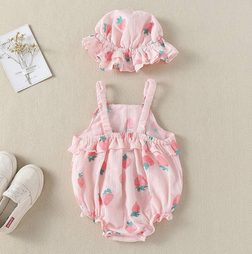 Hapae Baby Romper Newborn Lovely Fruit Printed Jumpsuit Infant Toddler 2PC Sets Sling Bodysuit+Sun Hat Girls Sleeveless Summer Costume Beachwear