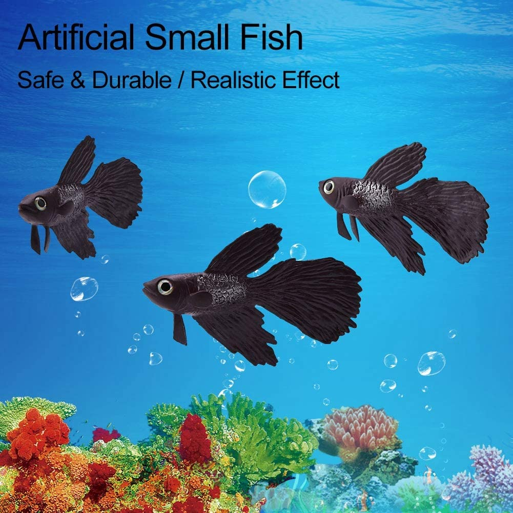 Aquarium Fish Bowl Plastic Swimming Gold Fish Betta Fish Funny Artificial Silicone Small Fish Lifelike Fake Fish Fish Tank Decoration Ornaments Brown Betta Fish