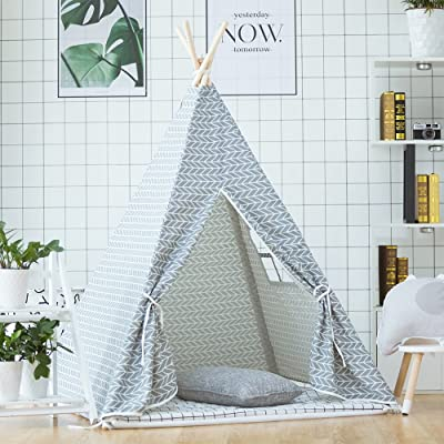 little dove Kid's Foldable Teepee Play Tent with Carry Case Grey Arrow with Mat