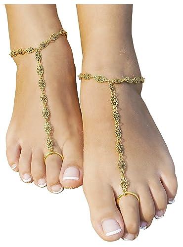 Amazoncom 2 PCS Beach Anklet Chain Bracelet Barefoot Sandals