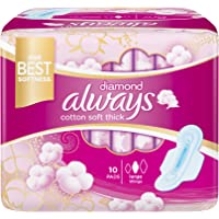 Always Diamond Maxi Thick, Large sanitary pads with wings, 10 ct