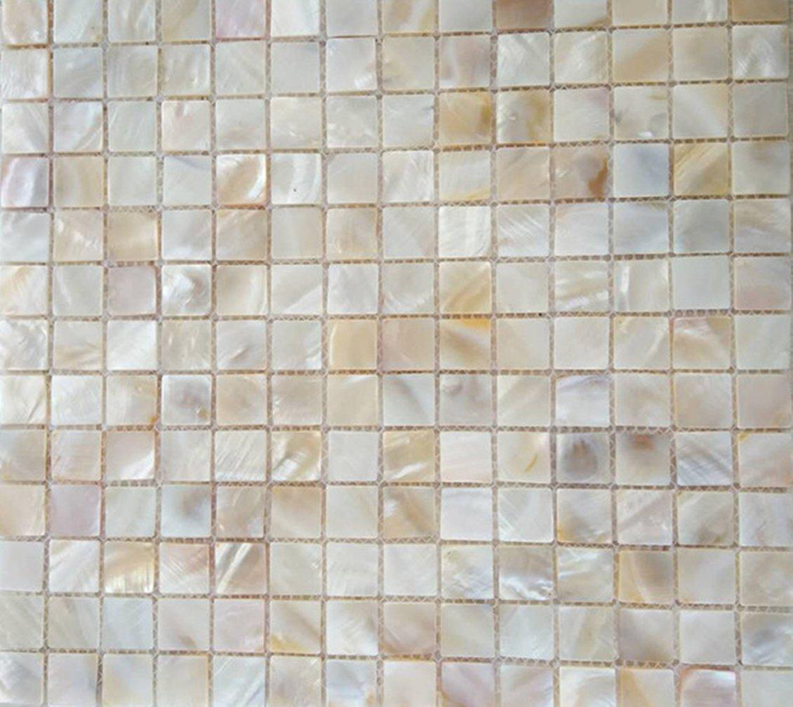 AFSJ Genuine Mother of Pearl Shell Mosaic Tile For Bathroom,Kitchen Backsplash,Spa Tile,Wall Tile,Pool Tile (Pack of 6 Sheets)