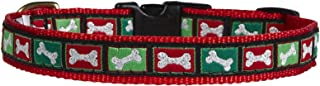 product image for Up Country Christmas Bones Pattern (Dog Collar Christmas Bones, Medium (12 to 18 Inches) 1 Inch Wide Width)