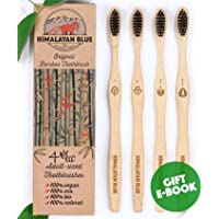 4-Pack Himalayan Blue Bamboo Natural Biodegradable Charcoal Toothbrush