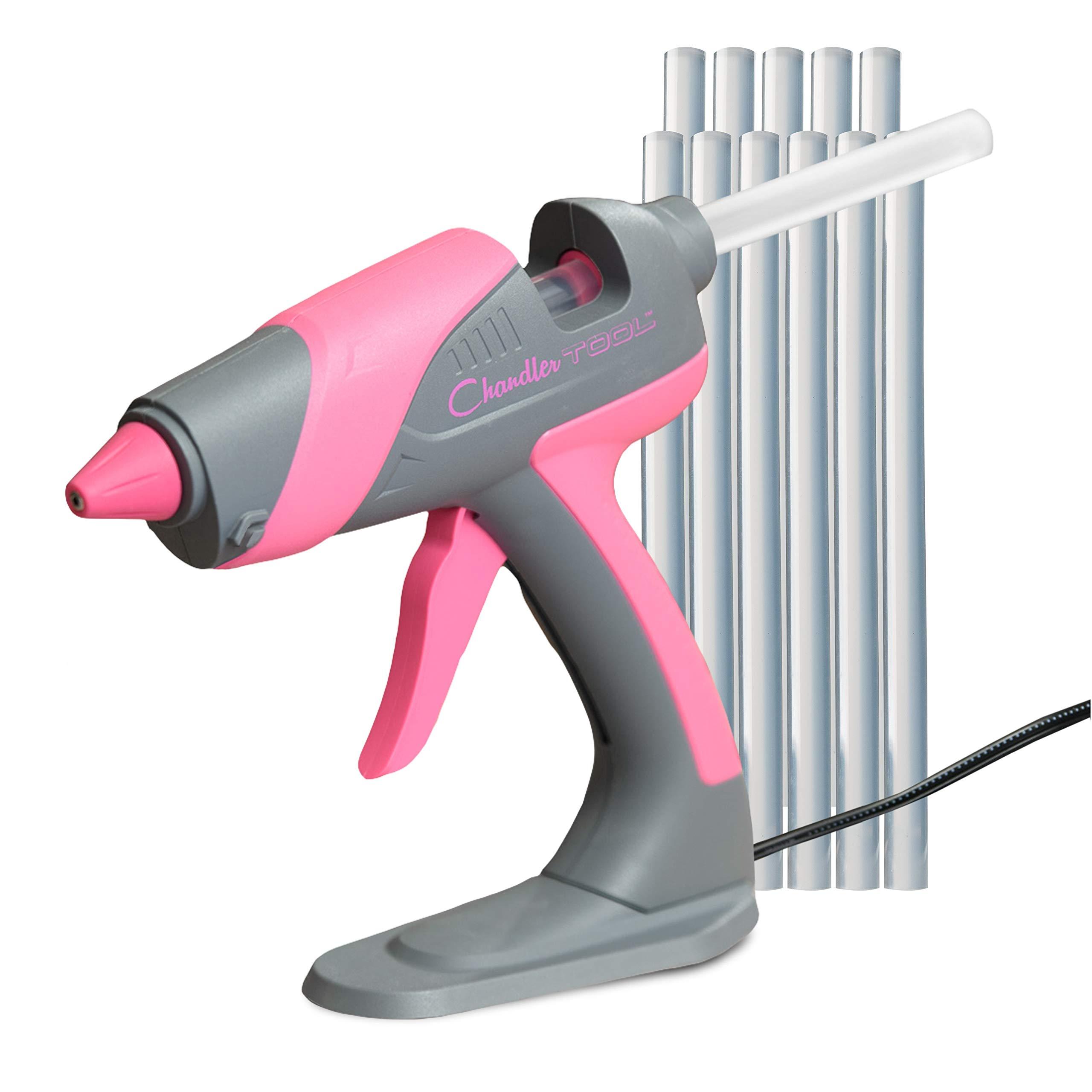 Chandler Tool Large Glue Gun - 60 Watt - Hot Glue Sticks & Patented Base Stand Included - for Arts Crafts School Home Repair DIY (Pink)