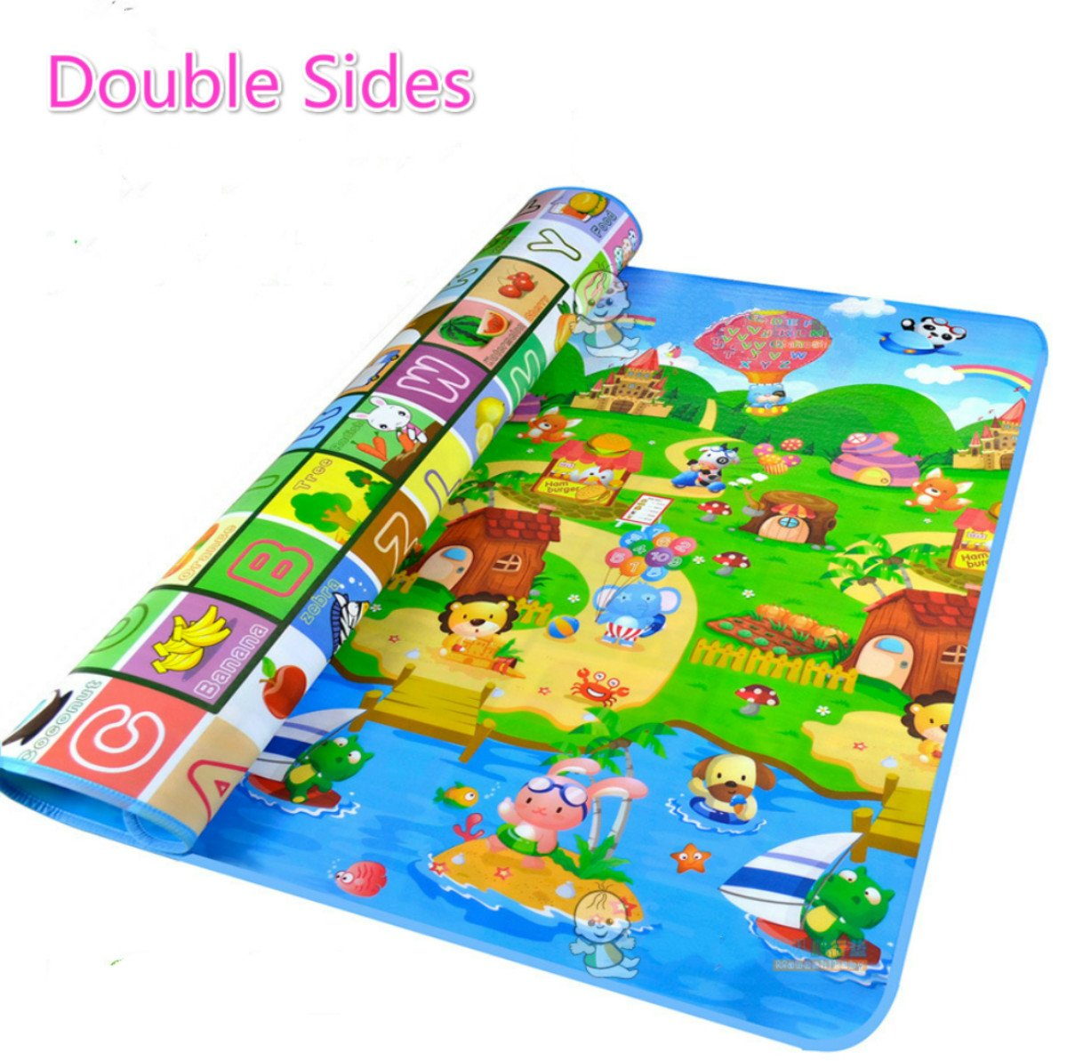 Sytian® 180*120*0.5cm Middle Size & Non-slip & Waterproof & Eco-friendly & Double Sides Baby Care Play Mat / Kids Crawling Mat / Playing Pad / Game Mat for Indoor and Outdoor Use (Fruit Alphabet & Farm)