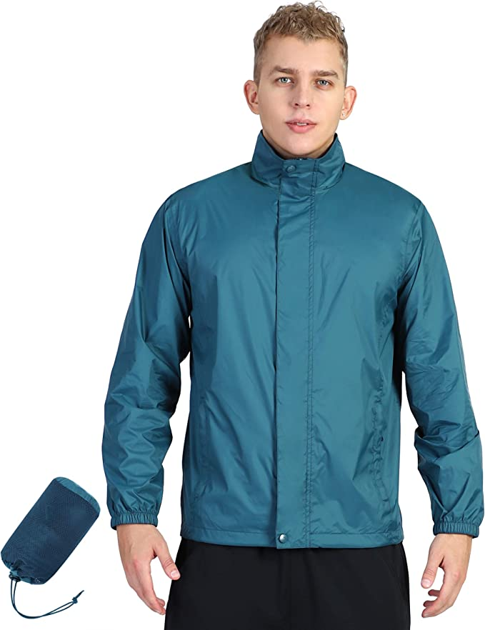 YINGJIELIDE Mens Waterproof Rain Jacket Hooded Outdoor Raincoat Lightweight Windbreaker