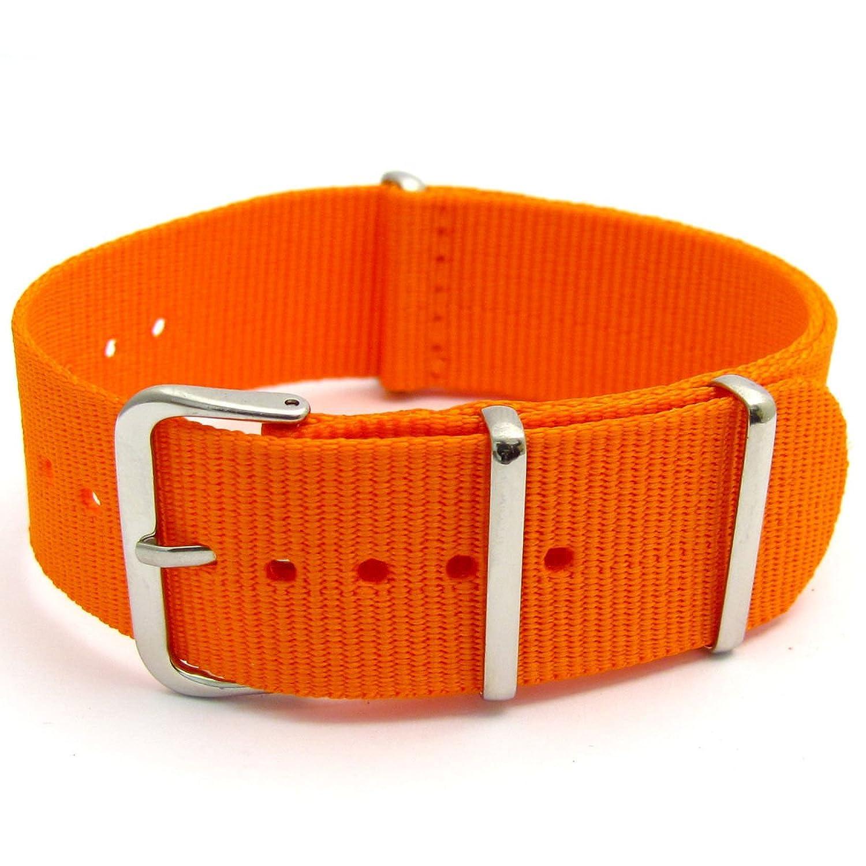 オレンジwithシルバーバックルミリタリー時計ストラップバンドナイロンウェビングバックル – フリーピン22 mm  B01IIC4T80