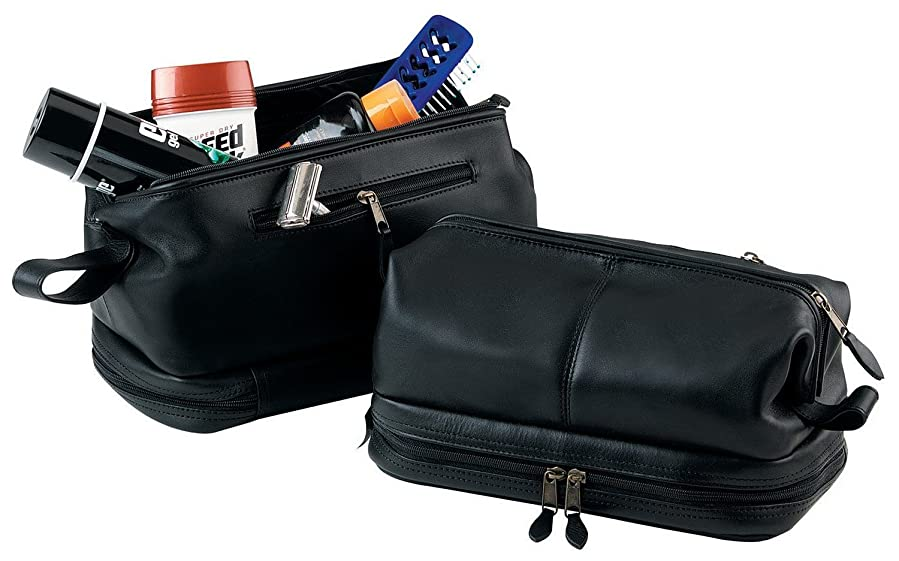 royce leather toiletry travel wash bag with zippered bottom compartment tan one size