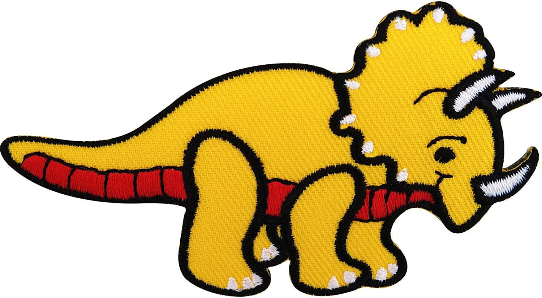 Ropa dinosaurio parches de hierro en insignia//Sew en T Shirt bordado Triceratops
