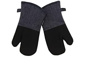 Cuisinart Neoprene Oven Mitts, 2pk -Heat Resistant Oven Gloves to Protect Hands and Surfaces with Non-Slip Grip and Hanging Loop-Ideal Set for Handling Hot Cookware, Bakeware- Charcoal