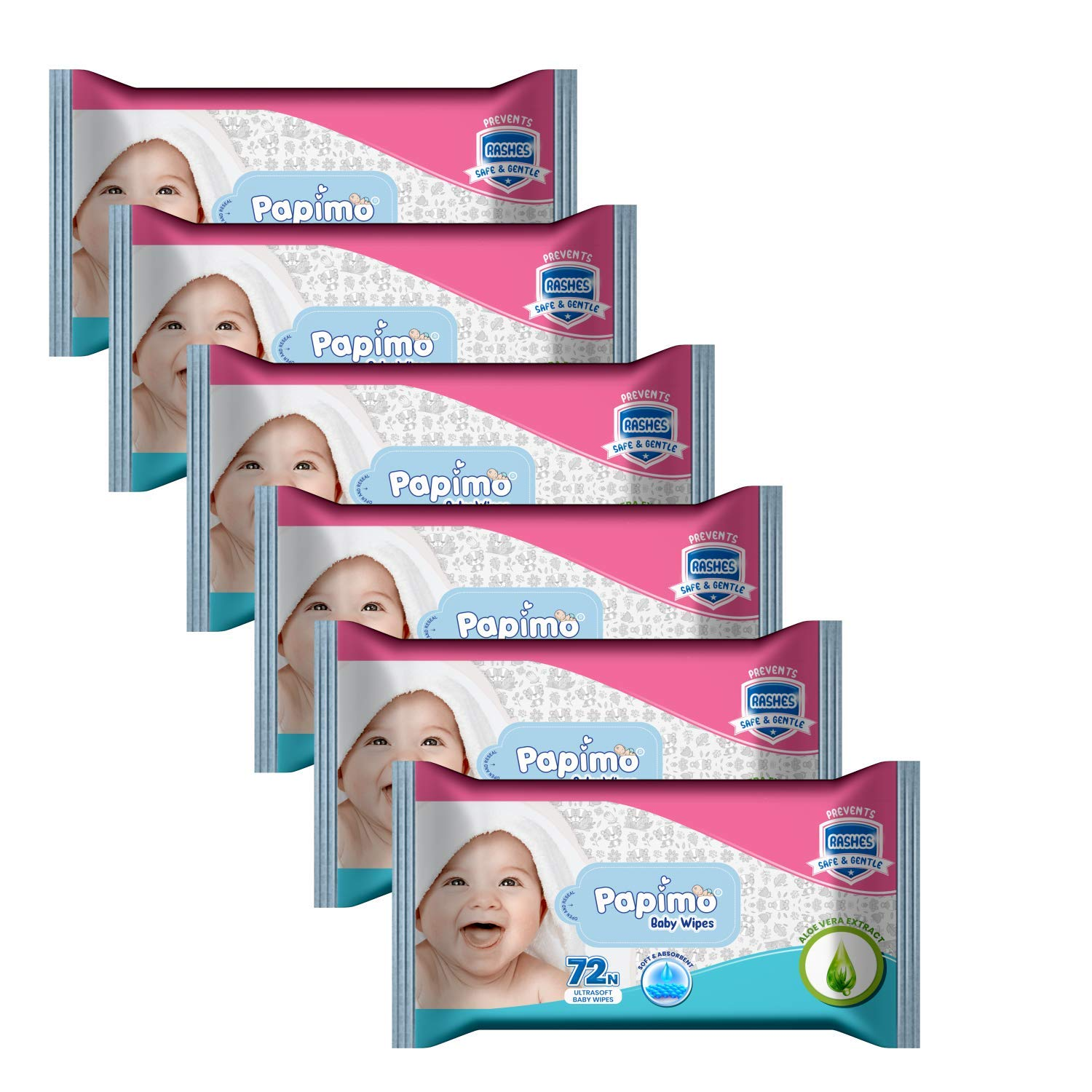 Papimo Ultrasoft Baby Wet Wipes With Aloe Vera NO Parabens NO Alcohol - 72 Count (Pack of 6)