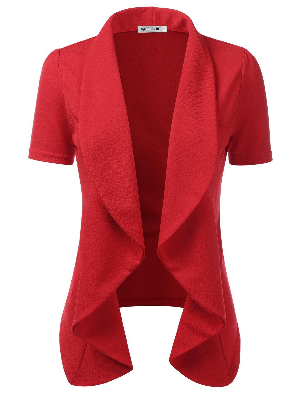 CLOVERY Women's Short Sleeve Cotton No-Buckle Blazer Jacket Suits Rose 2XL Plus Size