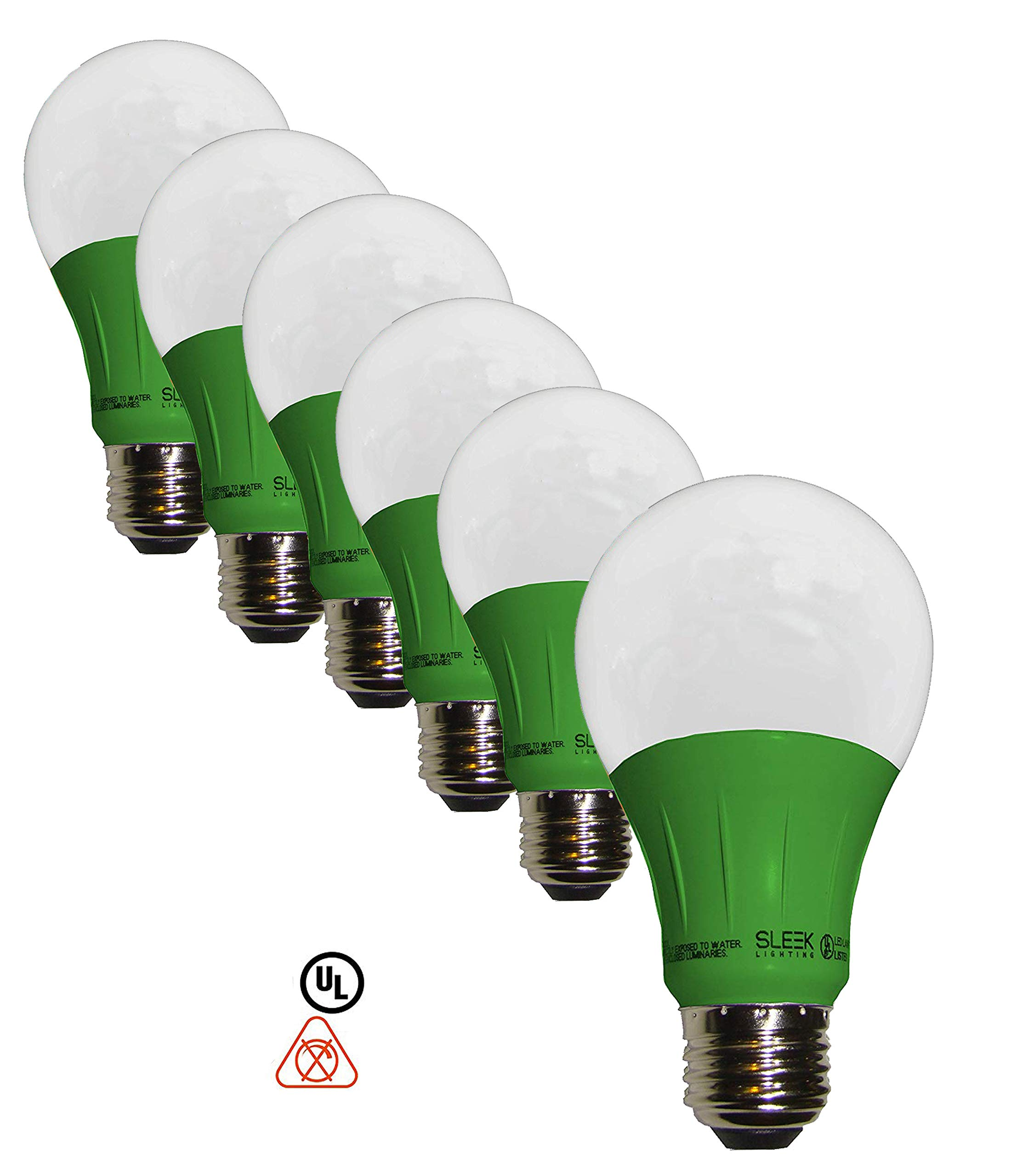 Sleeklighting LED A19 Green Light Bulb, 120 Volt - 3-Watt Energy Saving - Medium Base - UL-Listed LED Bulb - Lasts More Than 20,000 Hours 6pack by SleekLighting