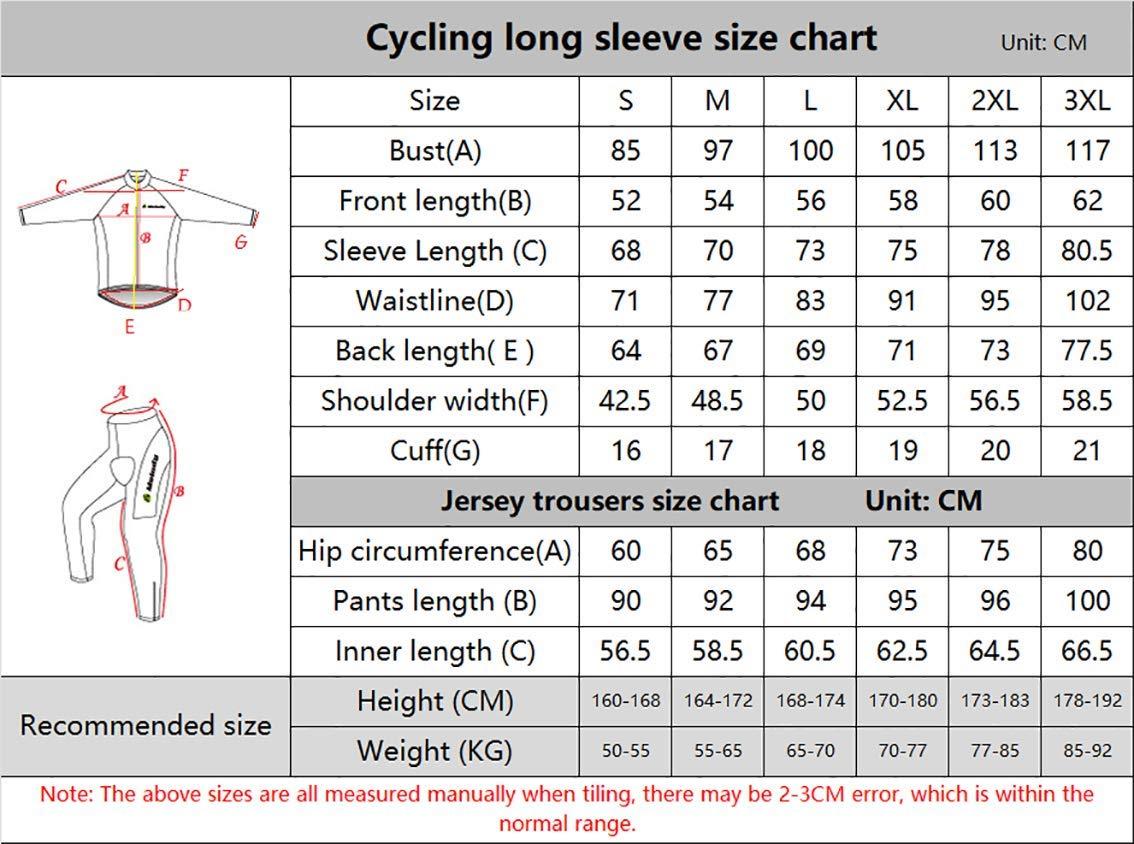 Moxilyn Traje Jerseys de Ciclismo para Hombre,Conjunto Ropa de Ciclo Manga Larga,Pantalones Acolchados Top + 9D de Manga Larga Pantalones,A Prueba de Viento ...