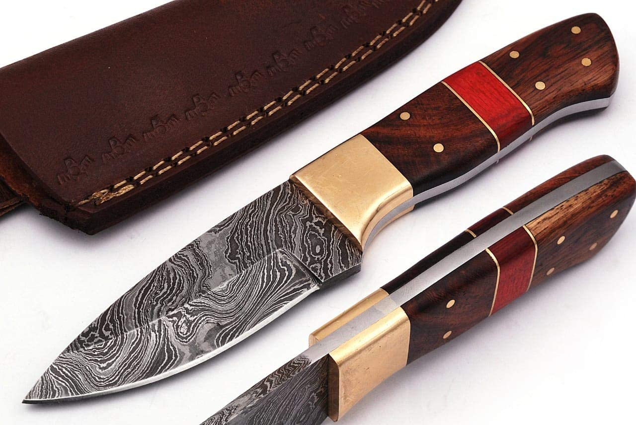 SharpWorld Wood Handle Damascus Knife Made of Remarkable Damascus Steel -Best Hunting Knife with Sheath TJ104