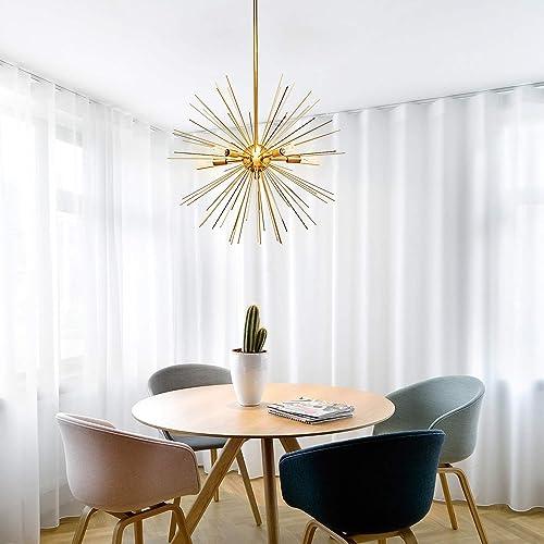MOTINI Golden Sputnik Chandelier 5-Light Brushed Brass Pendant Lighting Contemporary Chandelier for Dining Room Lighting Fixture, UL Listed