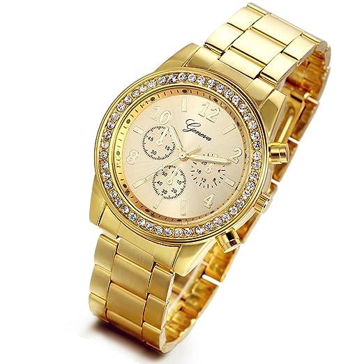 Lancardo Reloj Analógico Lujoso con Bisel de Diamantes Artificiales Brillantes Pulsera Electrónico Comercial de Cuarzo Original