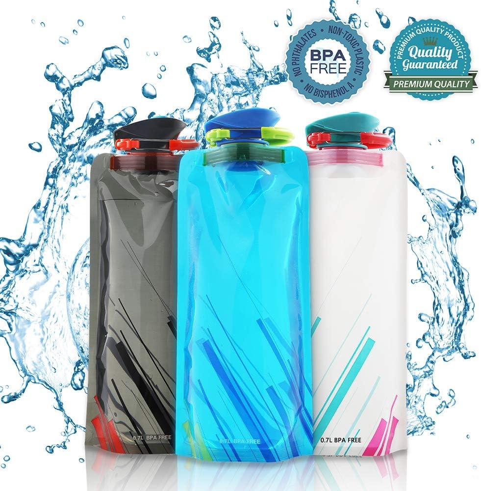 Nasharia - Juego de botellas de agua plegables de 700 ml, sin BPA, reutilizables para senderismo, aventuras, viajes, montañismo, camping, etc., 3 unidades.