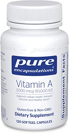Pure Encapsulations Vitamin A 10,000 IU from Cod Liver Oil   Supports Immune and Cellular Health, Vision, Bones, Skin, and Reproductive Function*   120 Softgel Capsules