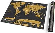 Mapa pequeño para rascar del mundo - Mapa del mundo de viaje con tubo de transporte - Mapa de rascar de lujo - Divertido y c