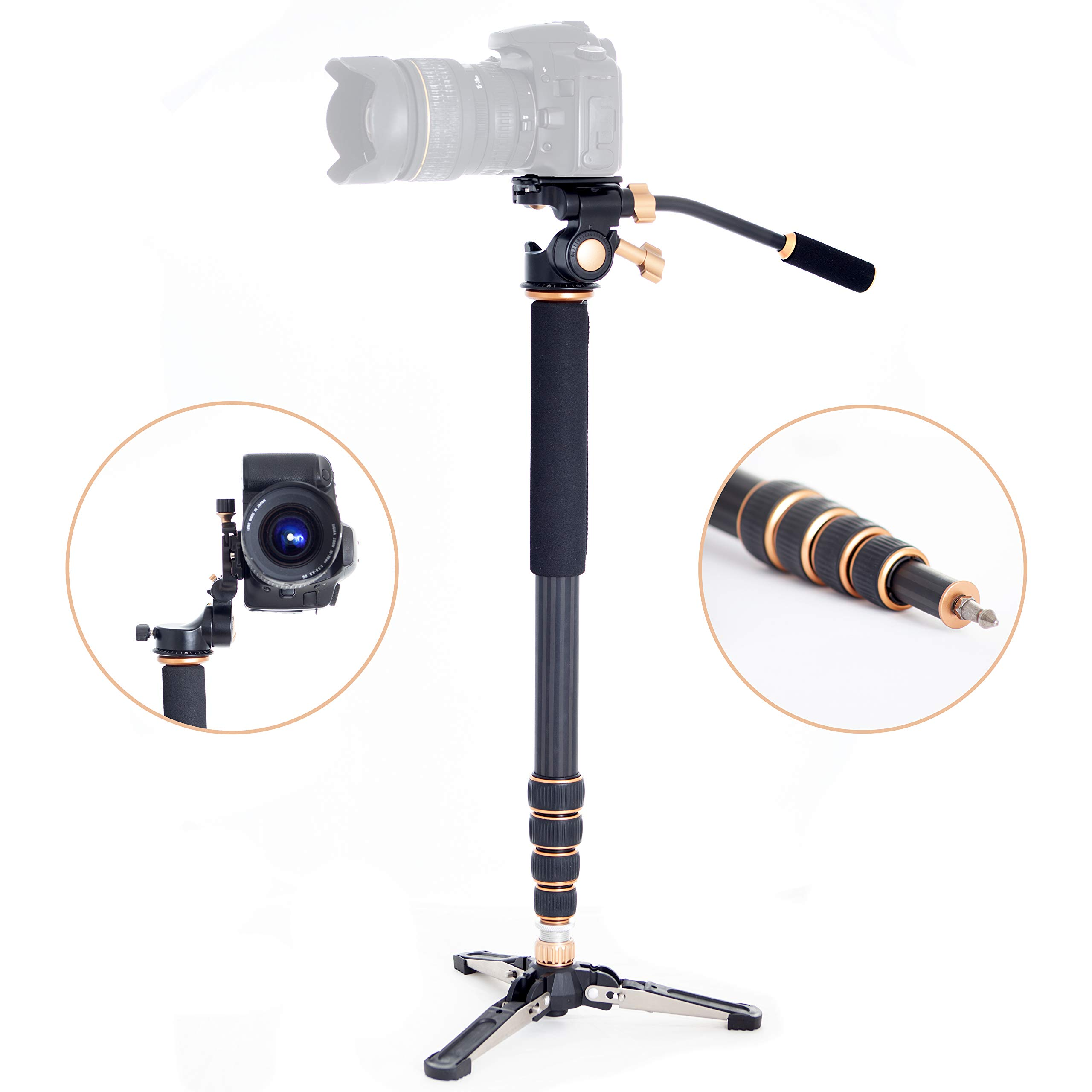 Professional Carbon Fiber Monopod Kit with Photo and Video 3-Way Head & Multi Direction Fluid Base for DSRL Cameras and Videocameras Pole Stick by Sensei Photo (Image #1)