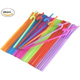 Disposable Flexible Drinking Straws Colorful Extra Long Bendy Party Flexible Drinking Straws Cocktail Drink Straw,100 Pieces