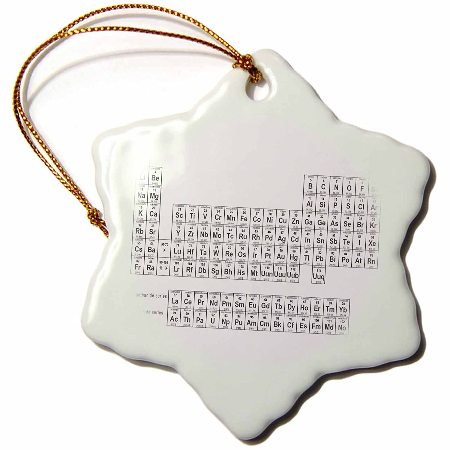 3dRose orn/_123989/_1 Periodic Table of Elements Black and While Chemistry Science Teacher Snowflake Ornament Porcelain 3-Inch