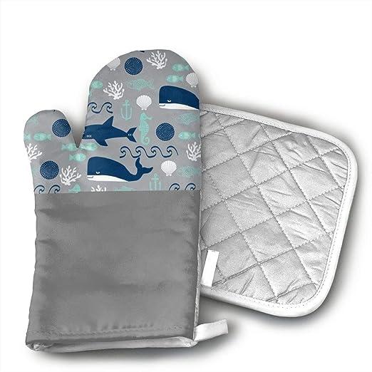 LCHKQR Ocean Shark - Manoplas para Horno, Forro de algodón ...