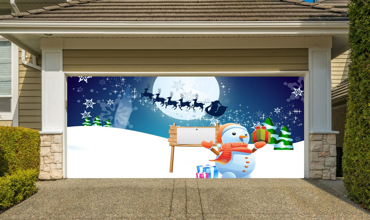 Christmas Garage Door Cover Banners 3d Santa In A Sleigh Snowman Holiday Outside Decorations Outdoor Decor for Garage Door G76