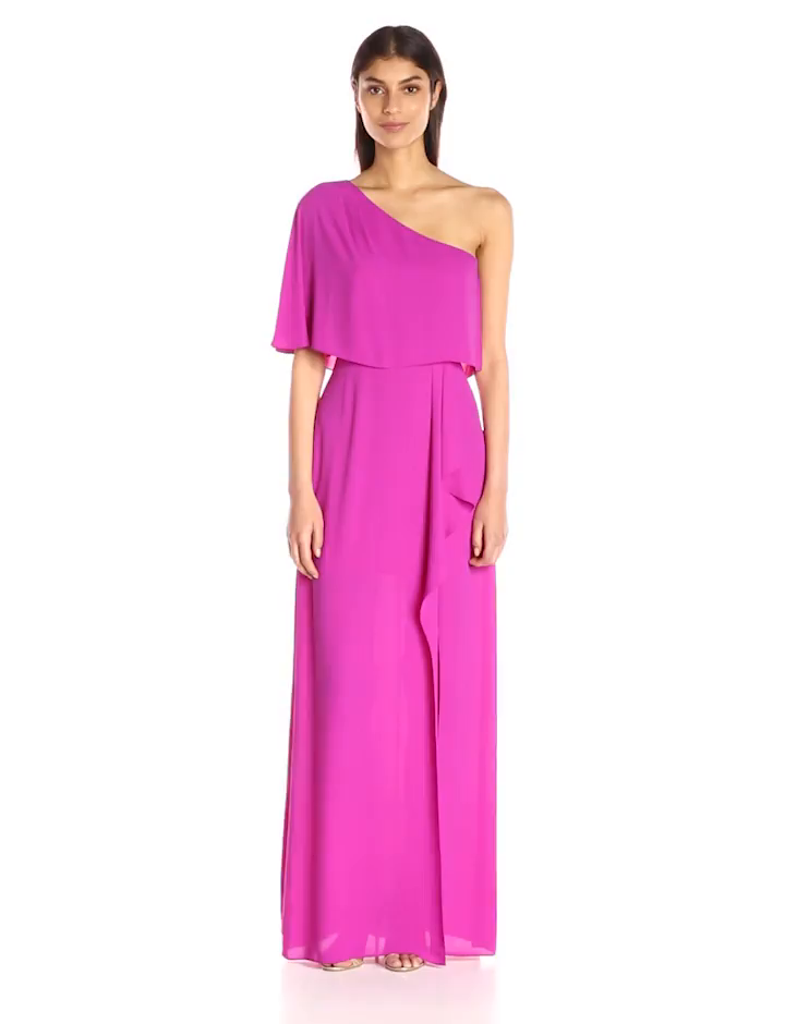 Amazon.com: BCBGMax Azria Women\'s Secha Long One Shoulder Evening ...