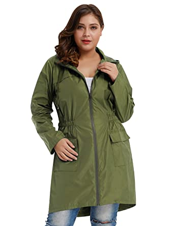 b8689c02f1a Hanna Nikole Womens Lightweight Travel Trench Waterproof Raincoat Hoodie  Army Green Size 2X