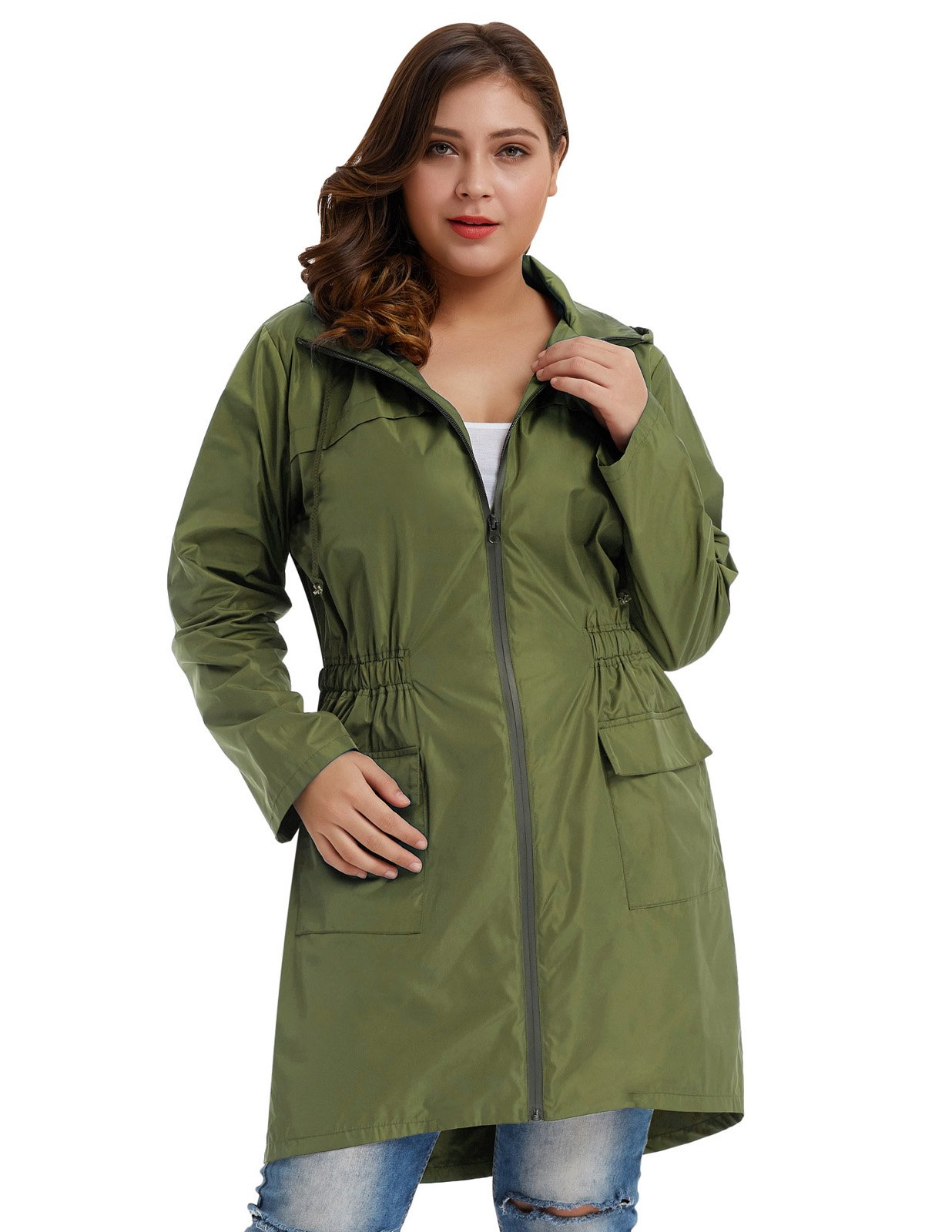 Hanna Nikole Women's Plus Size Lightweight Raincoat Travel Hoodie Rain Jacket
