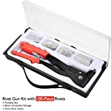AUDEW Rivet Gun Kit with 100-Piece Rivets Heavy Duty Hand Riveter Set Professional Hand Repair Tools Riveter for Automotive Railway Duct Work