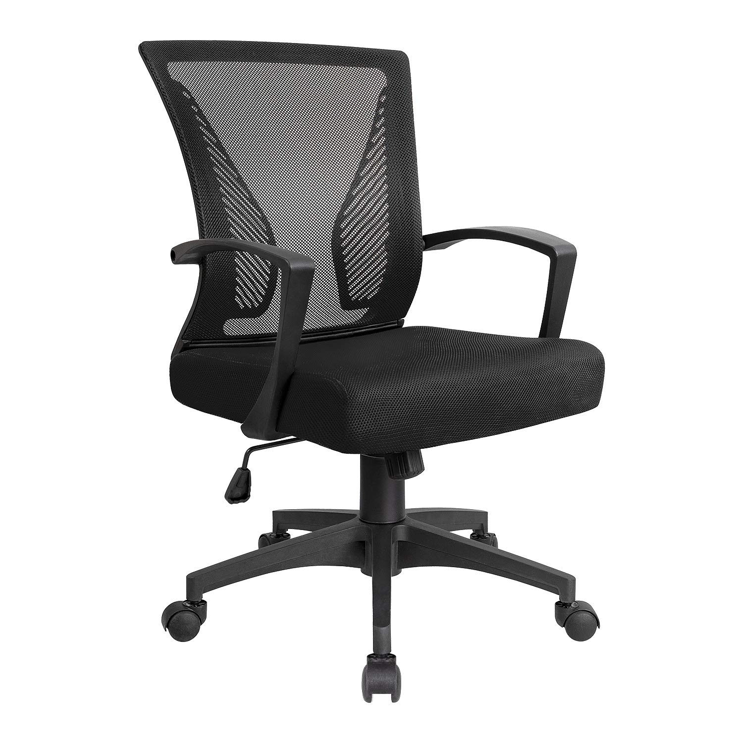 KaiMeng Mid Back Office Chair Ergonomic Computer Chair Desk Chair with Lumbar Support (Black)