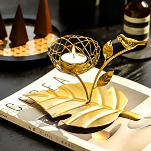 Marbrasse Vintage Decor Candle Holders, Iron Votive Bird Candle Holder Stands, Decorative Candles for Home Centerpiece, TeaLight Candle Holder for Dining Room Centerpiece (Gold Candle Holder)