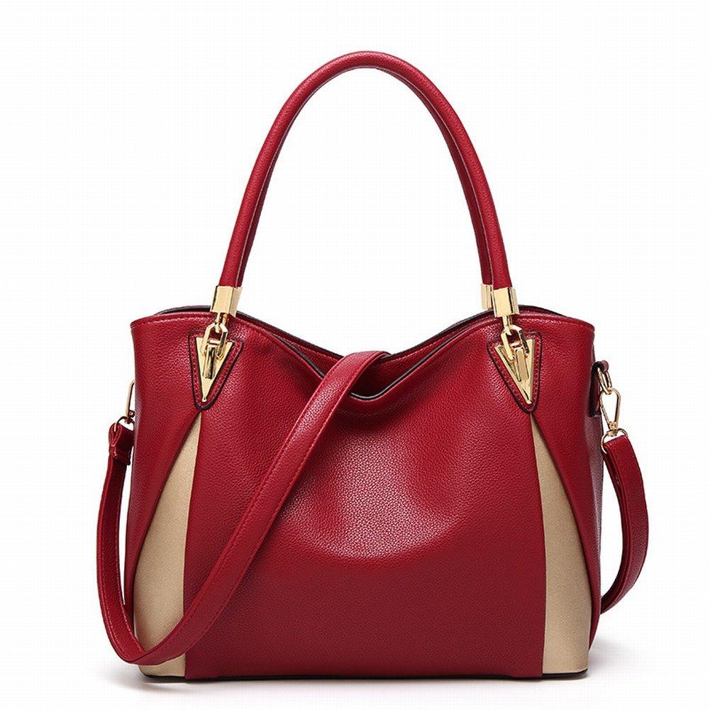Trendige Metall Kontrastfarbe Große Kapazität Handtaschen , Weinrot