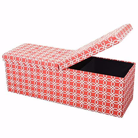 Awesome Otto And Ben 45 In Smart Lift Top Upholstered Ottoman Storage Bench Octagon Orange Feat Cushioned Seating With Hidden Storage Center Folding Lid Squirreltailoven Fun Painted Chair Ideas Images Squirreltailovenorg